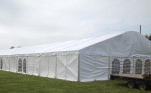 marquee set up ready for event